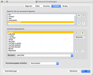 Konfiguration TeXworks