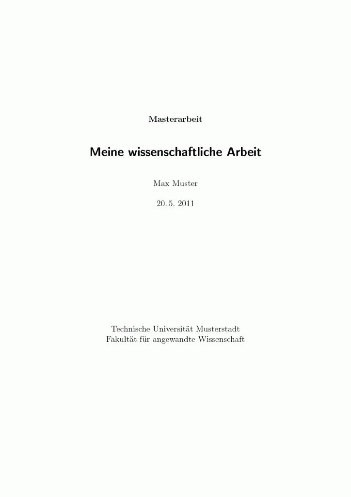 LaTeX-Beispieldokument einer Abschlussarbeit - Seite 1